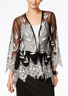 Alfani Petite Embroidered Open-Front Illusion Cardigan, Only At Macy's