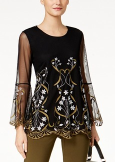 Alfani Petite Embroidered Illusion Top, Created for Macy's