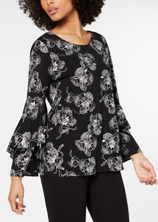 Alfani Embroidered Ruffle-Sleeve Top, Created for Macy's