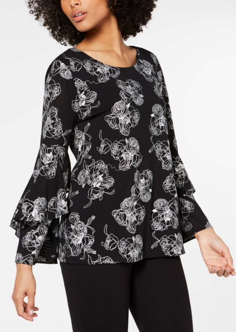 Alfani Embroidered Ruffle-Sleeve Top, Created for Macy's