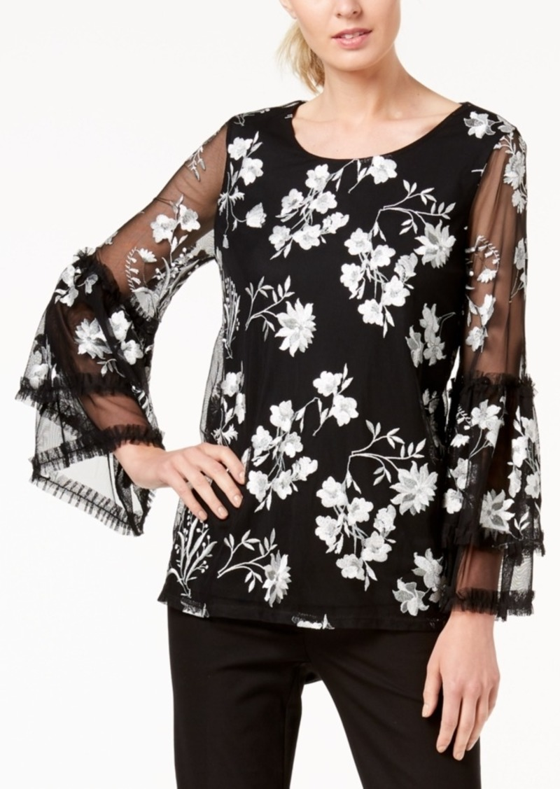 Alfani Petite Embroidered Ruffle Sleeve Top, Created for Macy's