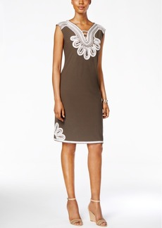 Alfani Embroidered Shift Dress, Only at Macy's