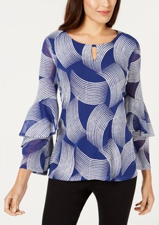 Alfani Embroidered Spiral-Sleeve Blouse, Created for Macy's