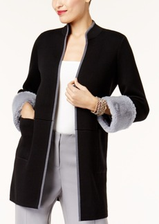 Alfani Faux-Fur-Cuff Cardigan, Created for Macy's