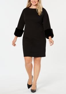 Alfani Plus Size Faux-Fur Cuff Shift Dress, Created for Macy's