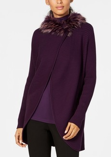 Alfani Faux-Fur-Trim Cardigan, Created for Macy's