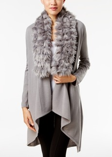 Alfani Faux-Fur-Trim Cardigan, Only at Macy's