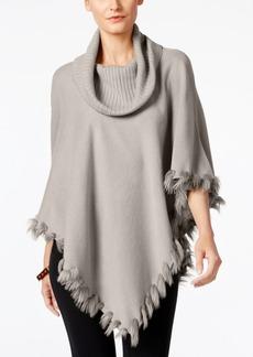 Alfani Faux-Fur-Trim Poncho Sweater, Only at Macy's