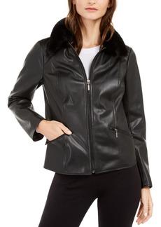 Alfani Faux-Leather Faux-Fur-Collar Jacket, Created For Macy's