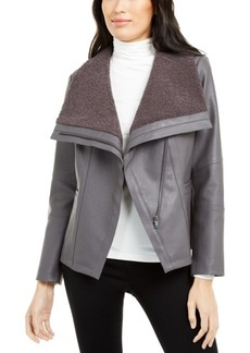 Alfani Faux-Leather Fleece-Trim Jacket, Created For Macy's
