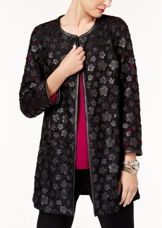 Alfani Faux-Leather Lace Topper Jacket, Created for Macy's