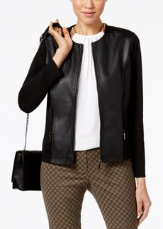 Alfani Faux-Leather Mixed-Media Jacket, Created for Macy's