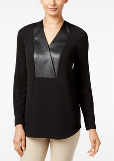 Alfani Faux-Leather-Placket Top, Only at Macy's