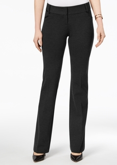 Alfani Faux-Leather-Trim Bootcut Pants, Created for Macy's