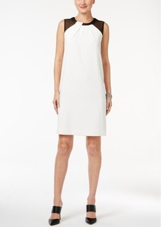 Alfani Faux-Leather-Trim Dress, Only at Macy's