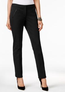 Alfani Faux-Leather-Trim Slim-Leg Pants, Only at Macy's