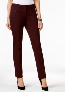Alfani Faux-Leather-Trim Slim-Leg Pants, Only at Macy's