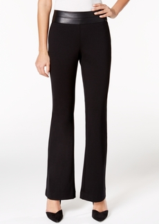 Alfani Faux-Leather-Trim Trousers, Only at Macy's