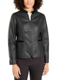 Alfani Faux-Leather Velvet-Trim Jacket, Created For Macy's