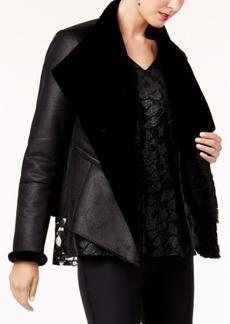Alfani Faux-Shearling-Lined Moto Jacket, Created for Macy's