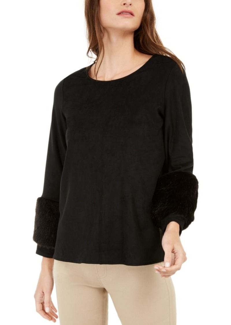 Alfani Faux-Suede & Faux-Fur Top, Created For Macy's