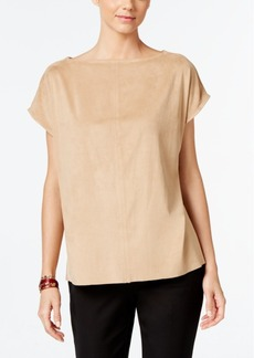 Alfani Faux-Suede Boat-Neck Top, Only at Macy's