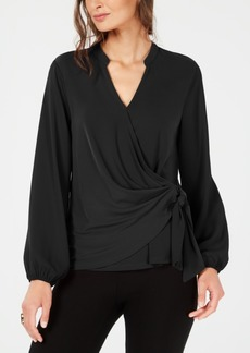 Alfani Faux-Wrap Surplice Top, Created for Macy's