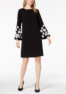 Alfani Floral-Applique Bell-Sleeve Dress, Created for Macy's