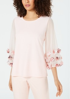 Alfani Floral-Applique Top, Created for Macy's