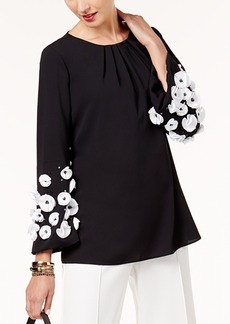 Alfani Petite Floral Applique Top, Created for Macy's