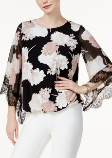 Alfani Petite Lace-Trim Printed Top, Created for Macy's