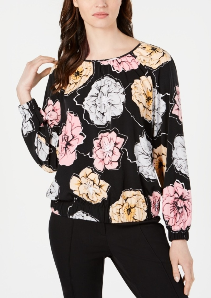 Alfani Floral-Print Banded-Hem Top, Created for Macy's