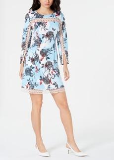 Alfani Floral-Print Illusion-Trim Dress, Created for Macy's