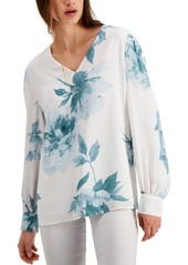 Alfani Floral-Print Pintucked Top, Created for Macy's