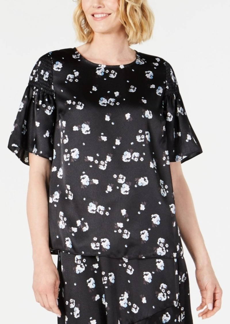 Alfani Floral-Print Satin Smocked-Shoulder Top, Created for Macy's