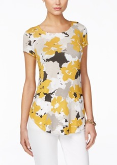 Alfani Petite Floral-Print Short-Sleeve Top, Only at Macy's