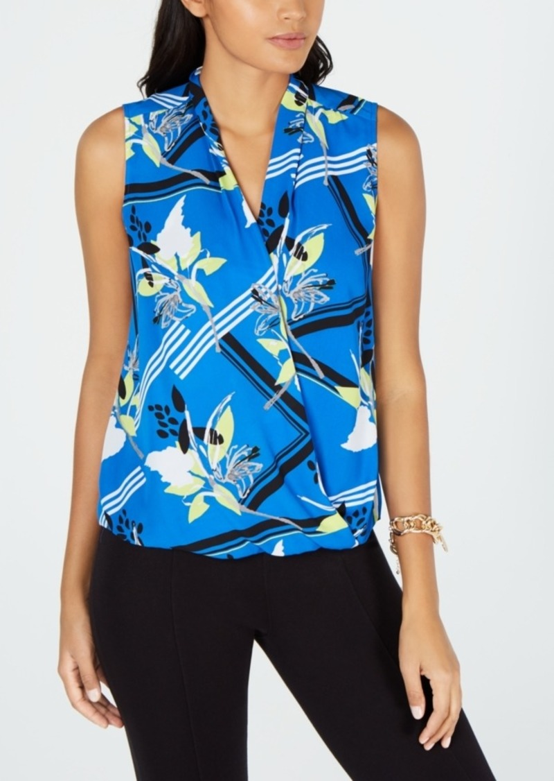 Alfani Floral-Print Surplice Top, Created for Macy's