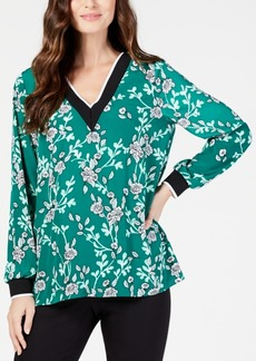 Alfani Floral-Print V-Neck Top, Created for Macy's