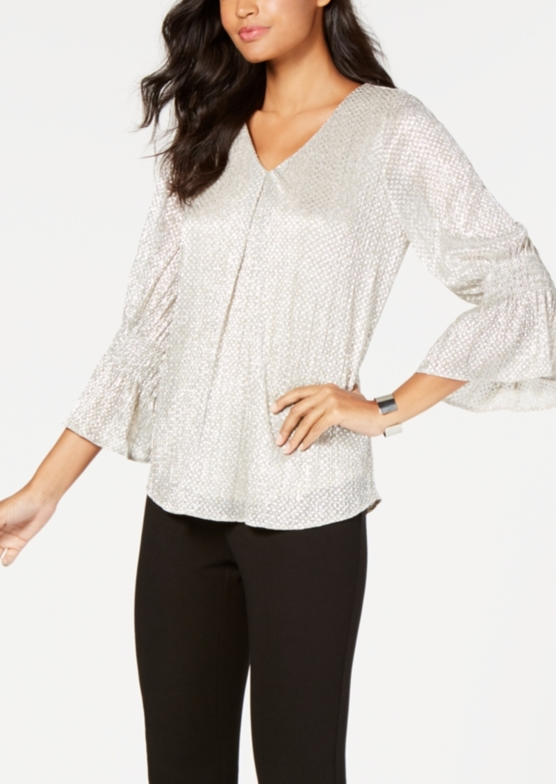 Alfani Foil Smocked-Sleeve Top, Created for Macy's