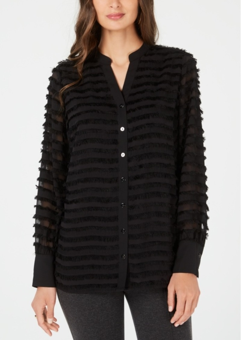 Alfani Fringed Button-Up Blouse, Created for Macy's