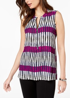 Alfani Petite Front-Zip Sleeveless Top, Created for Macy's