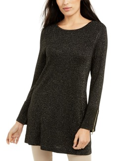 Alfani Glitter-Knit Tunic Sweater, Created For Macy's
