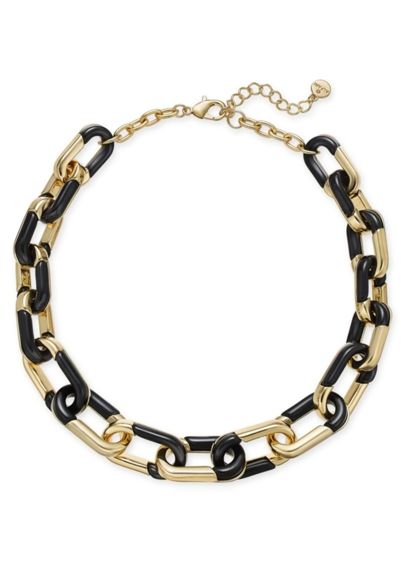"Alfani Gold-Tone & Black Acrylic Large Link Necklace, 20"" + 2"" extender, Created for Macy's"