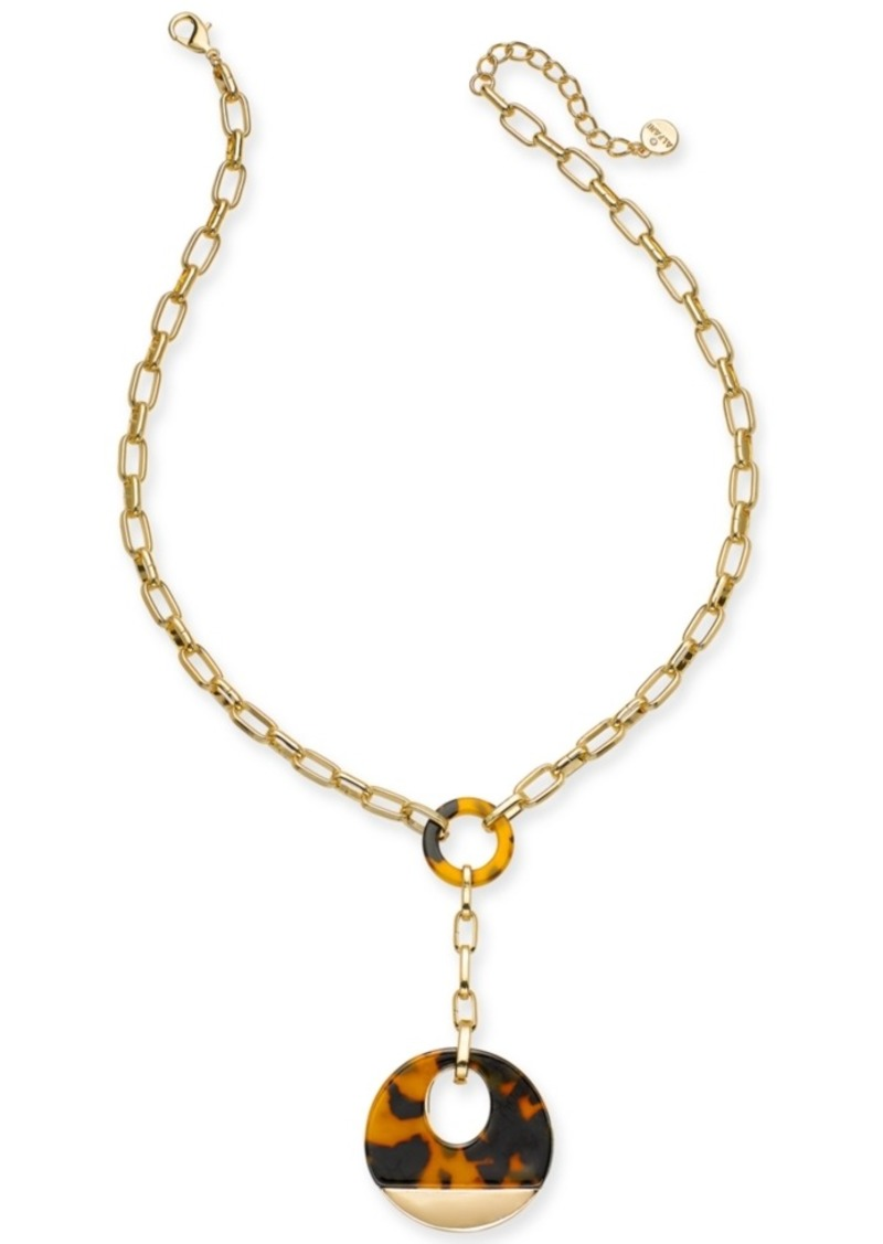 """Alfani Gold-Tone & Tortoise-Look Link Lariat-Necklace, 20"""" + 2"""" extender, Created For Macy's"""