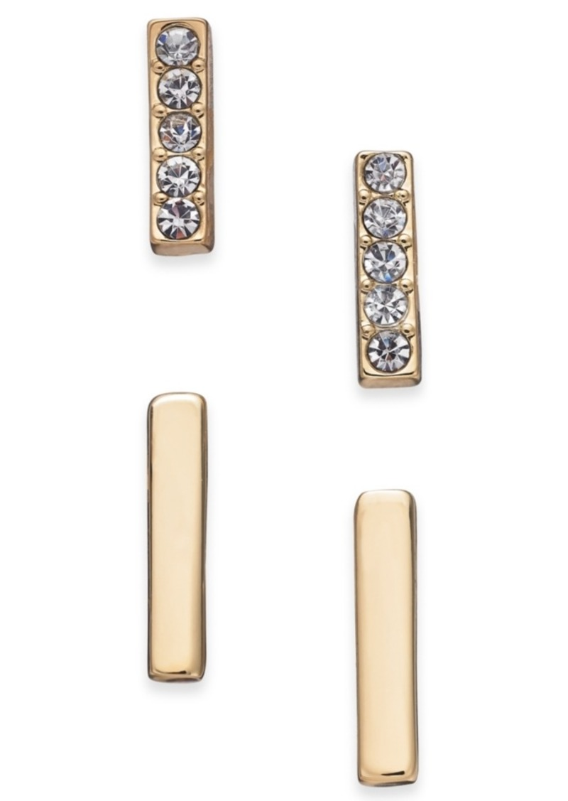 Alfani Gold-Tone 2-Pc. Set Pave Bar Stud Earrings, Created for Macy's