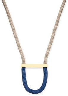 "Alfani Gold-Tone Colorblock Woven Rope Statement Necklace, 32"" + 2"" extender, Created for Macy's"