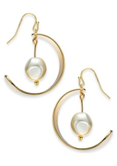 Alfani Gold-Tone Imitation Pearl Drop Hoop Earrings, Created For Macy's