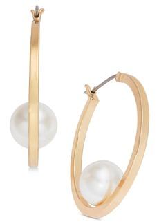 Alfani Gold-Tone Imitation Pearl Hoop Earrings, Created for Macy's