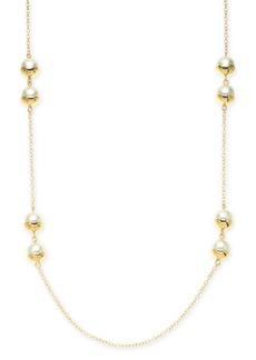 """Alfani Gold-Tone Imitation Pearl Station Long Necklace, 42"""" + 2"""" extender, Created for Macy's"""