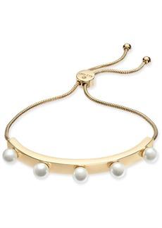 Alfani Gold-Tone Imitation Pearl Studded Bolo Bracelet, Created for Macy's